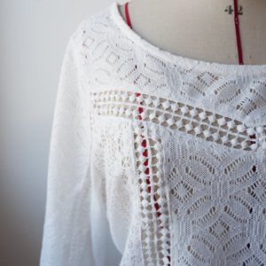 Lace Crochet Long Sleeve Tee